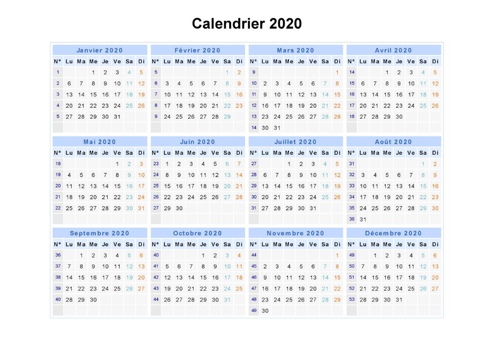 2020 Annuel Calendrier