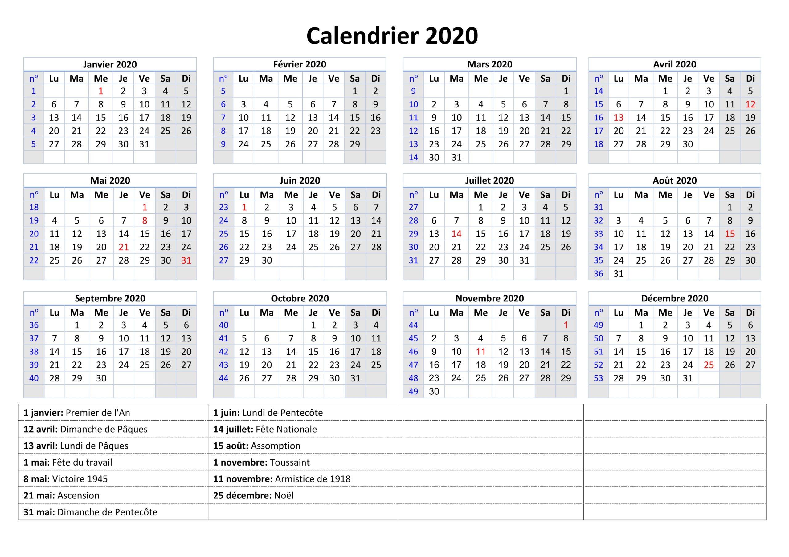 2020 Calendrier Avec les Jours Fériés