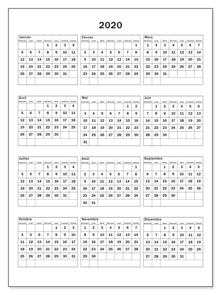 Calendrier 2020 Word