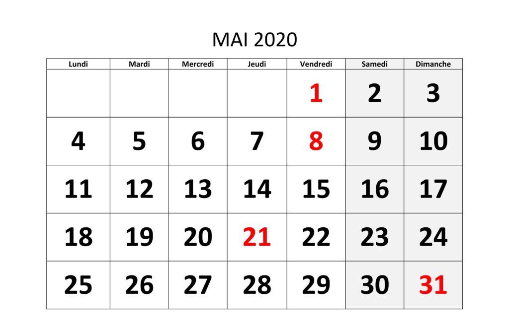 Calendrier Mai 2020 Excel