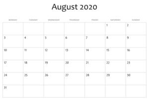 Août Calendrier 2020