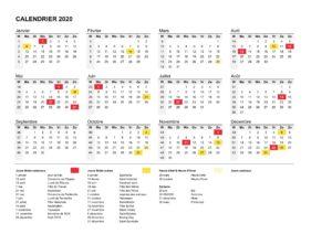 Calendrier 2020 en Semaine