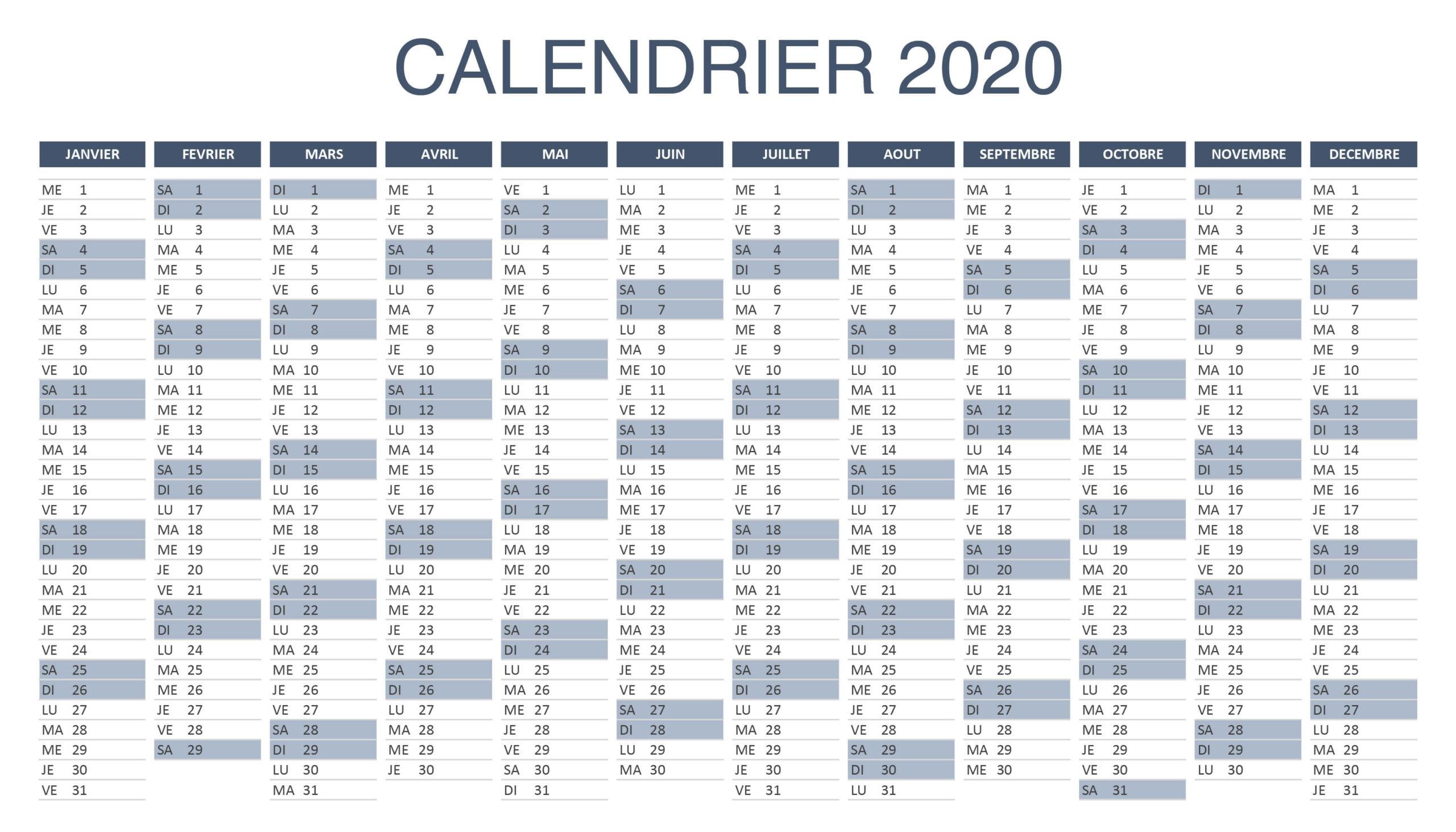 Calendrier 2020 Avec Semaine PDF