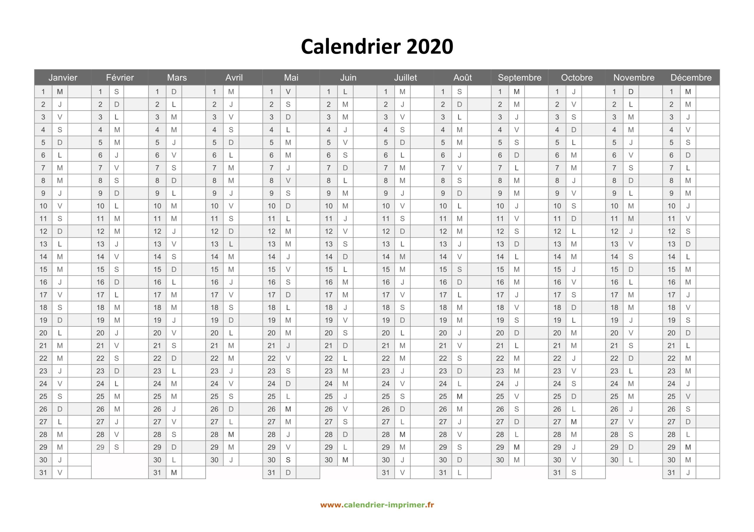 Calendrier 2020 Avec Semaine Word