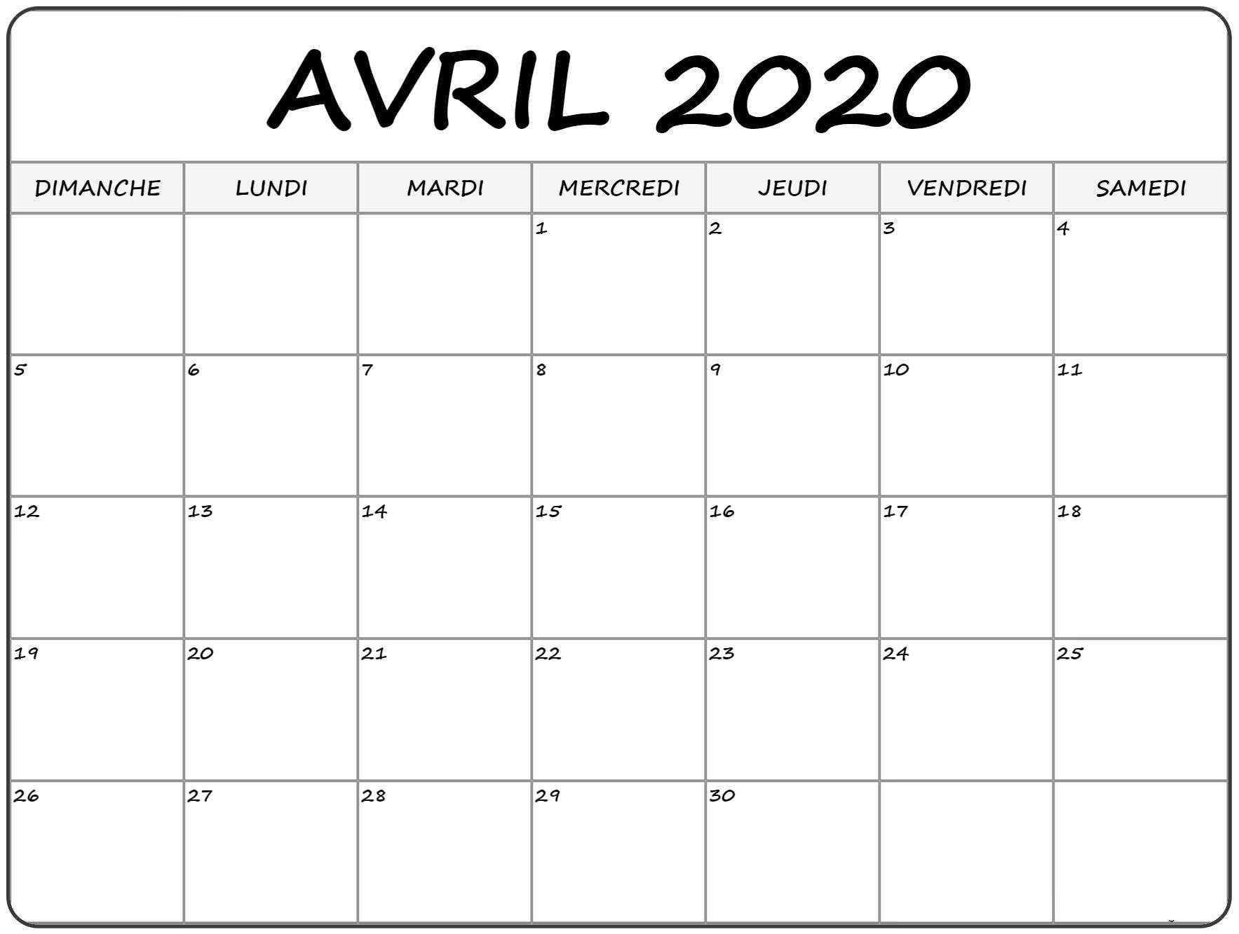 Calendrier 2020 Avril