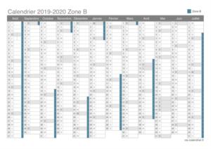 Calendrier 2020 Scolaire Zone B