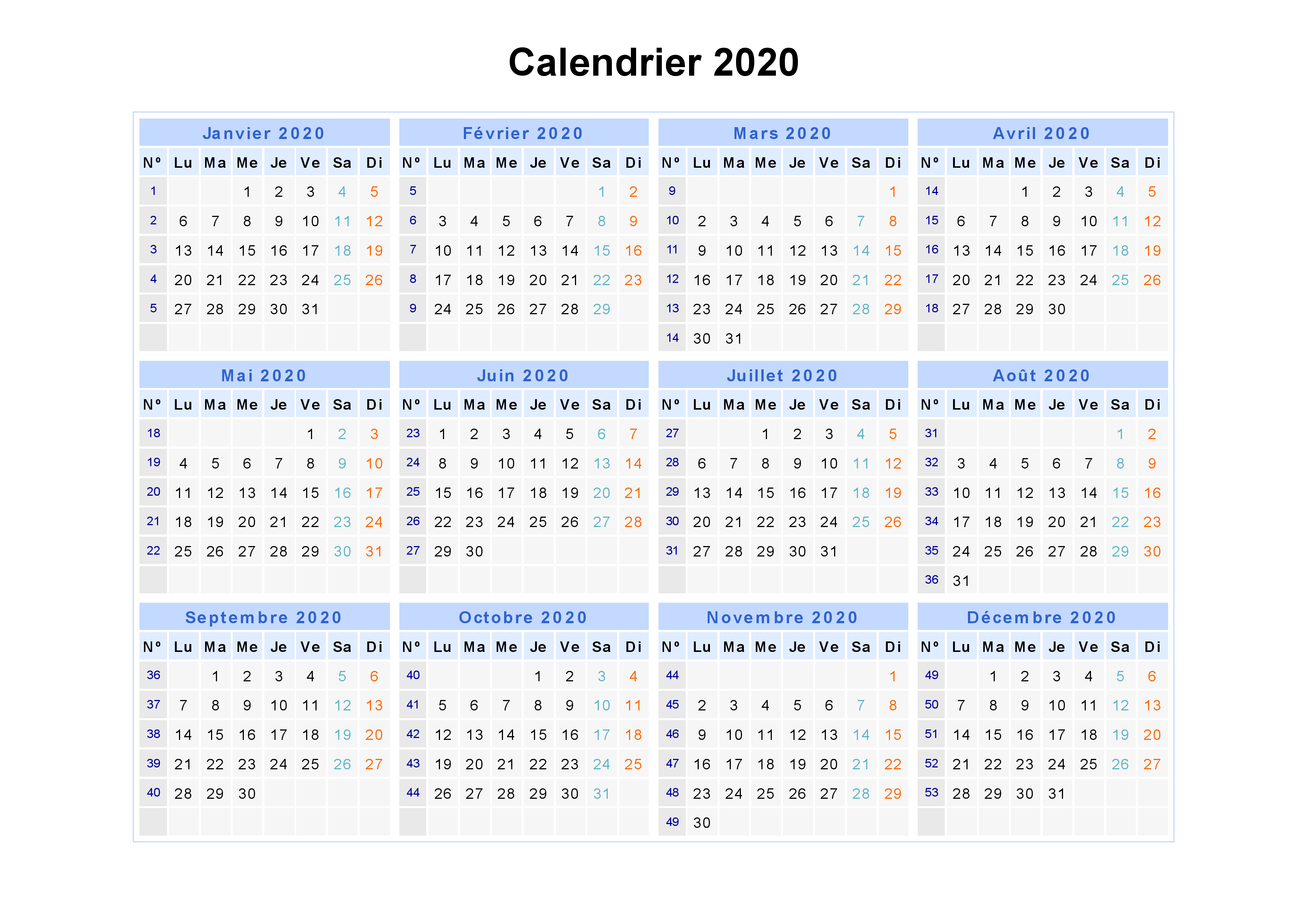 Calendrier 2020 Par Semaine