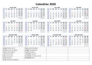 Calendrier 2020 Vacances