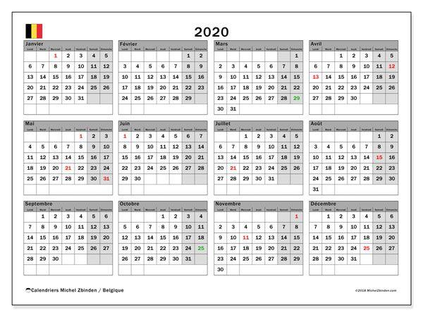 Calendrier 2020 Vacances Scolaires Belgique