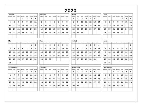 Calendrier Canadien 2020