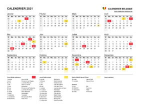 Calendrier 2020 et 2021 Belgique