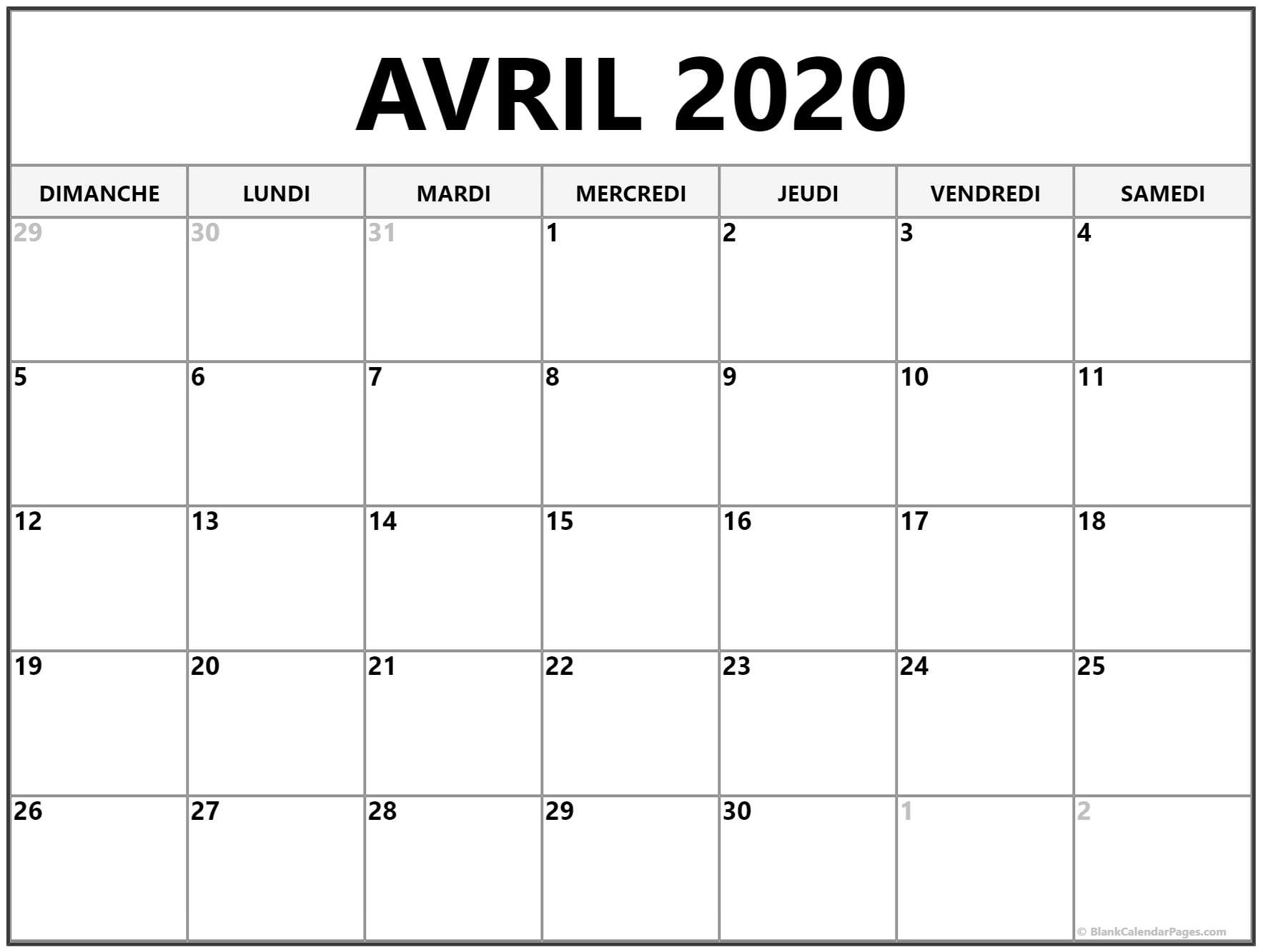 Calendrier Lunaire Avril 2020