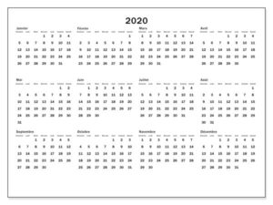 Imprimable Calendrier 2020