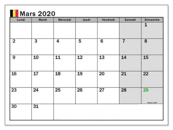 Calendrier Imprimable de Mars 2020