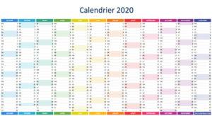 Calendrier Jours fériés 2020