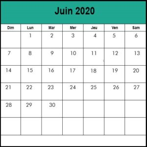 Calendrier de Juin 2020