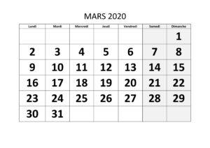 Calendrier Mars 2020 PDF