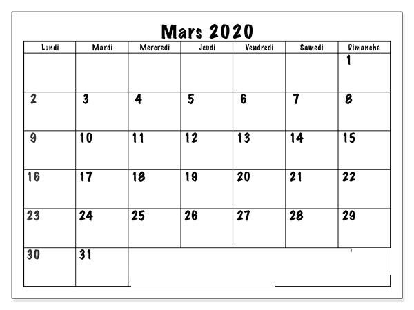 Calendrier Mars 2020 Excel
