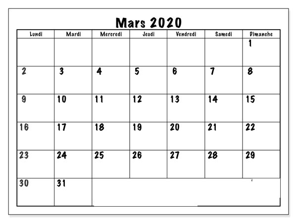Calendrier Mars 2020 Excel