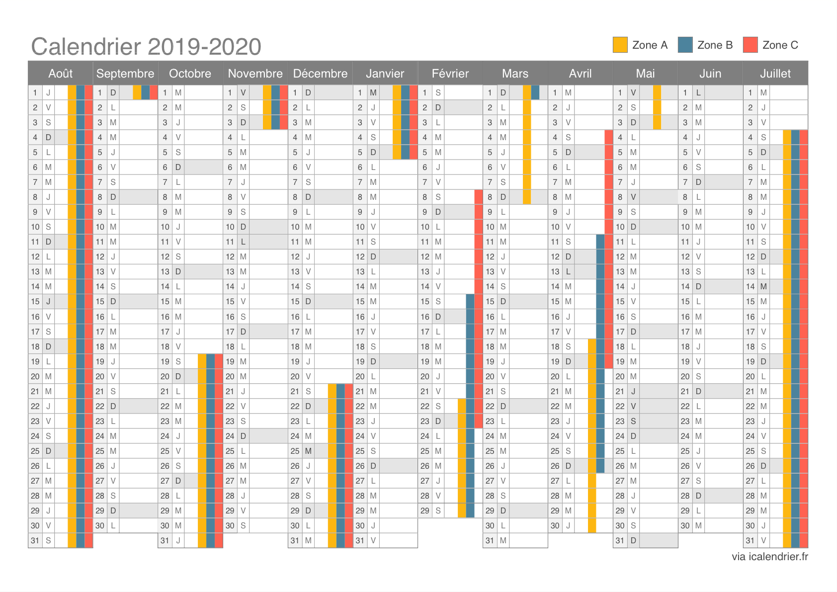 Calendrier Vacances 2020