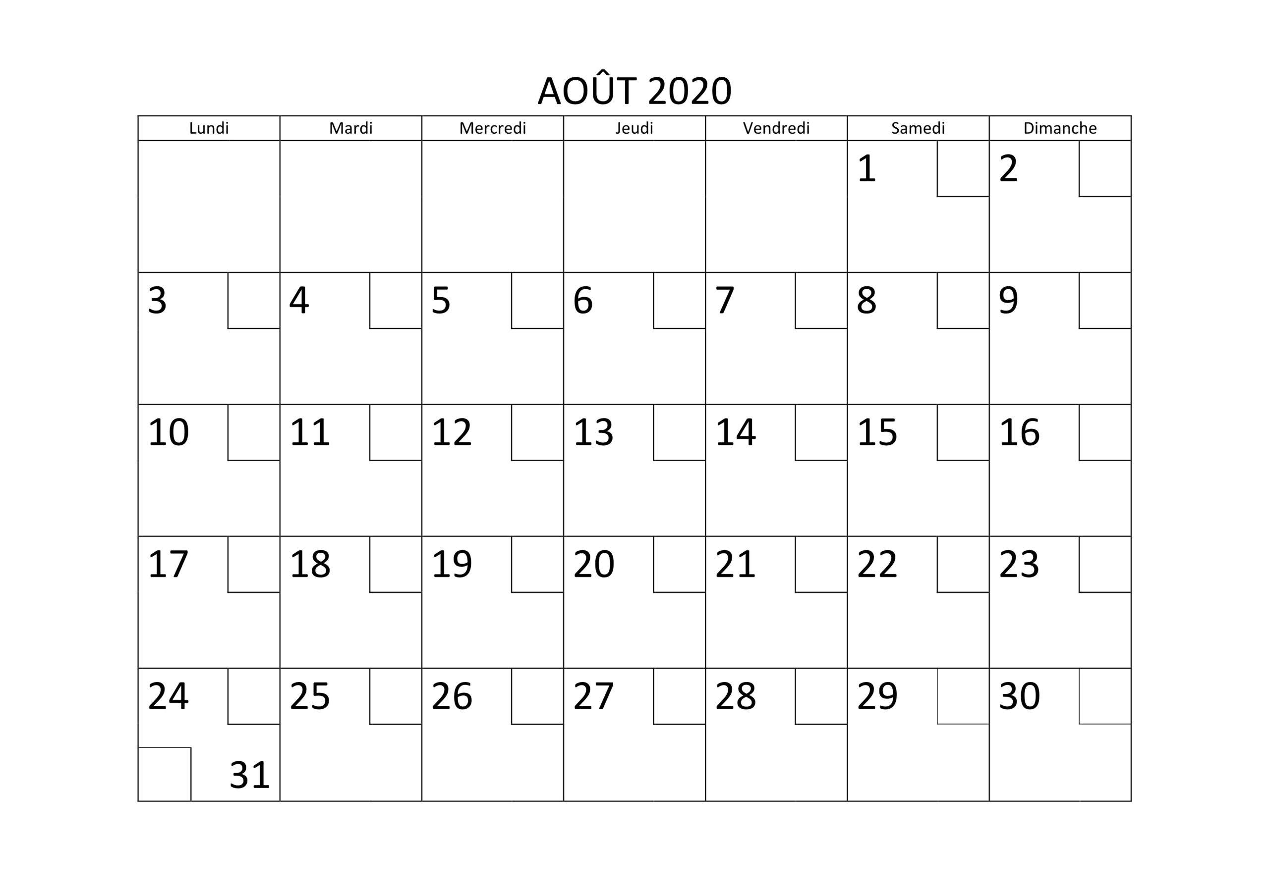 Calendrier Août 2020 PDF