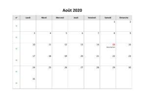 Calendrier août 2020 jours fériés