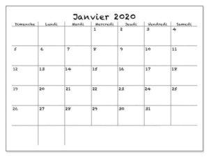 Calendrier 2020Janvier