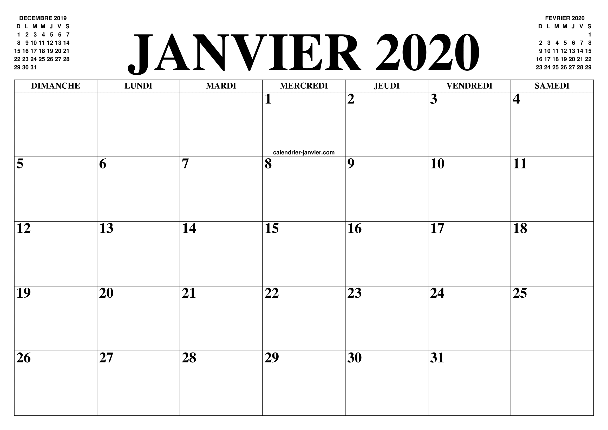 CalendrierJanvier 2020PDF