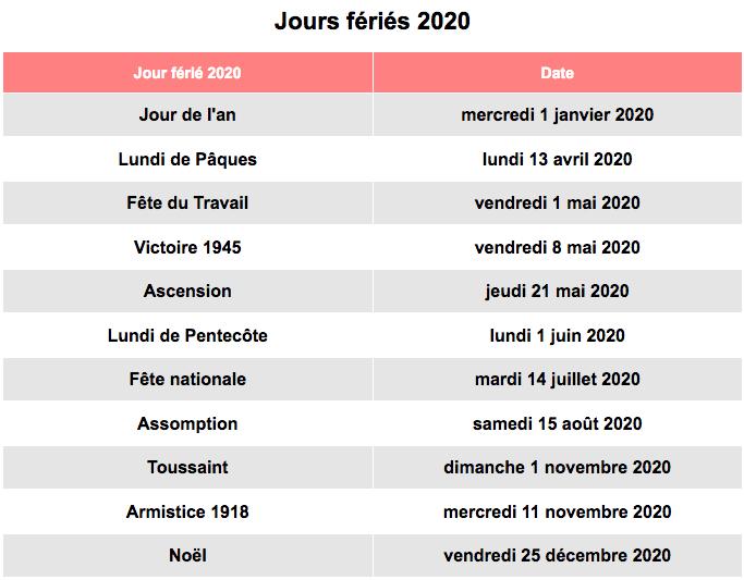 Jours Fériés 2020 France