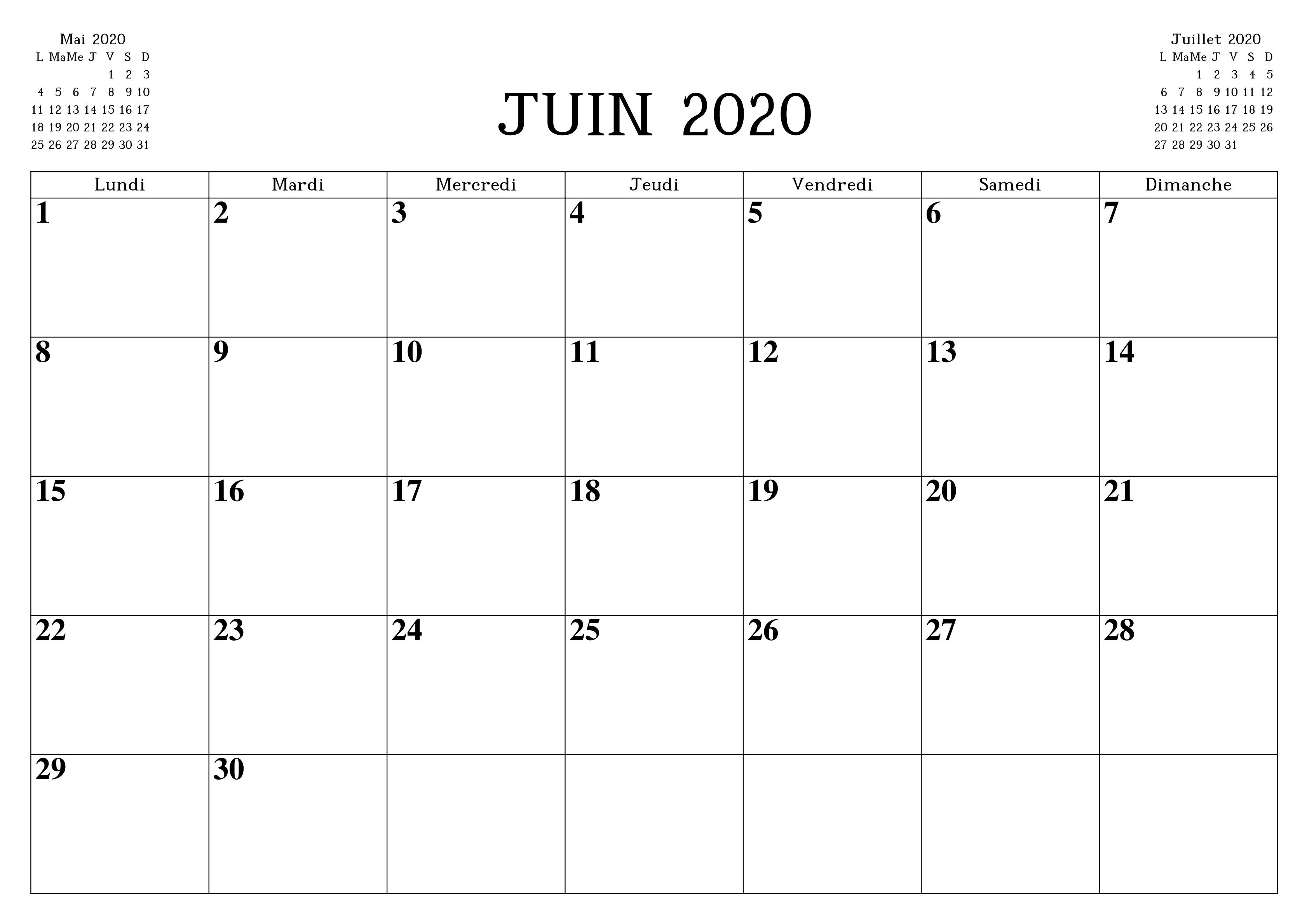 Calendrier 2020 Juin