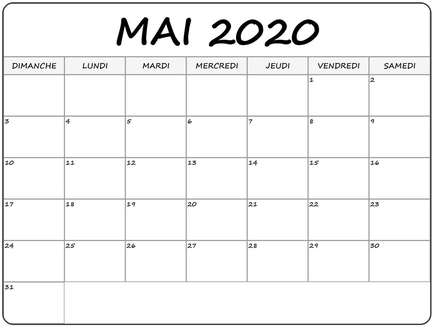 Mai 2020 Calendrier