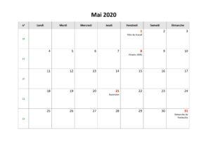Calendrier 2020 Lunaire Mai