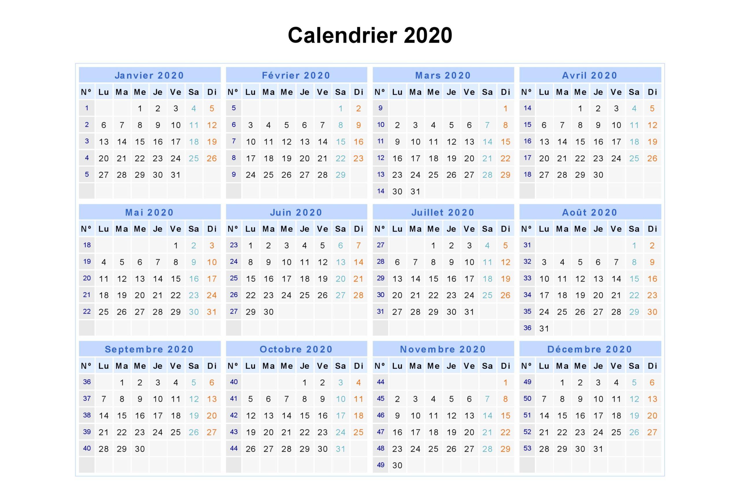 Maroc Calendrier 2020
