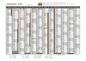 Calendrier 2020 Semaine Paire