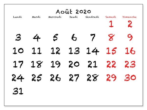 Calendrier Août2020