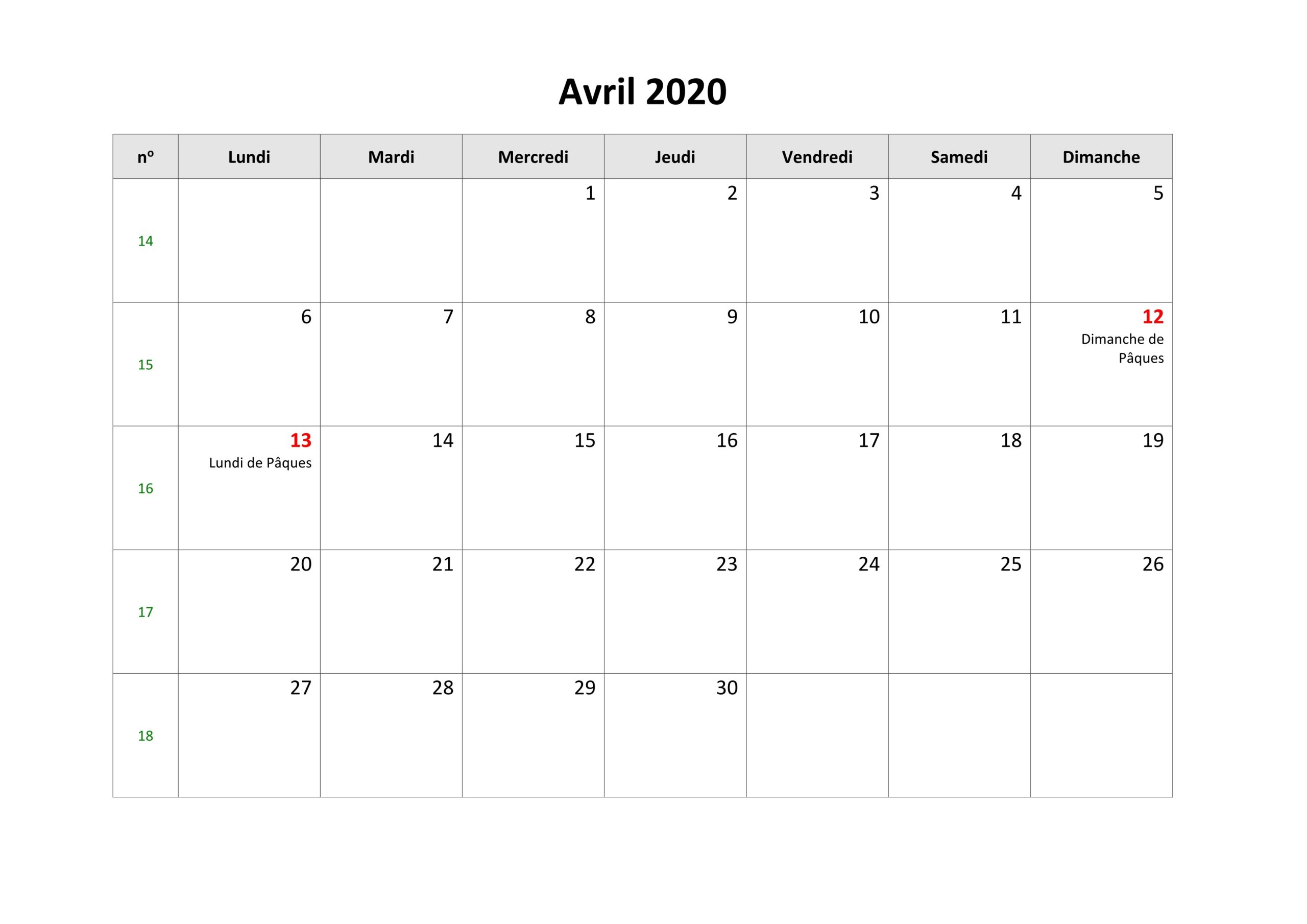 Calendrier Avril 2020 Excel