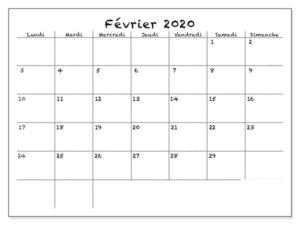 Calendrier Imprimable de Février 2020