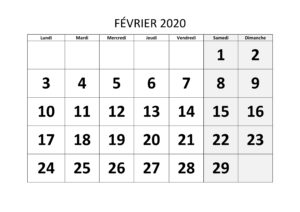 Calendrier Février 2020 Excel