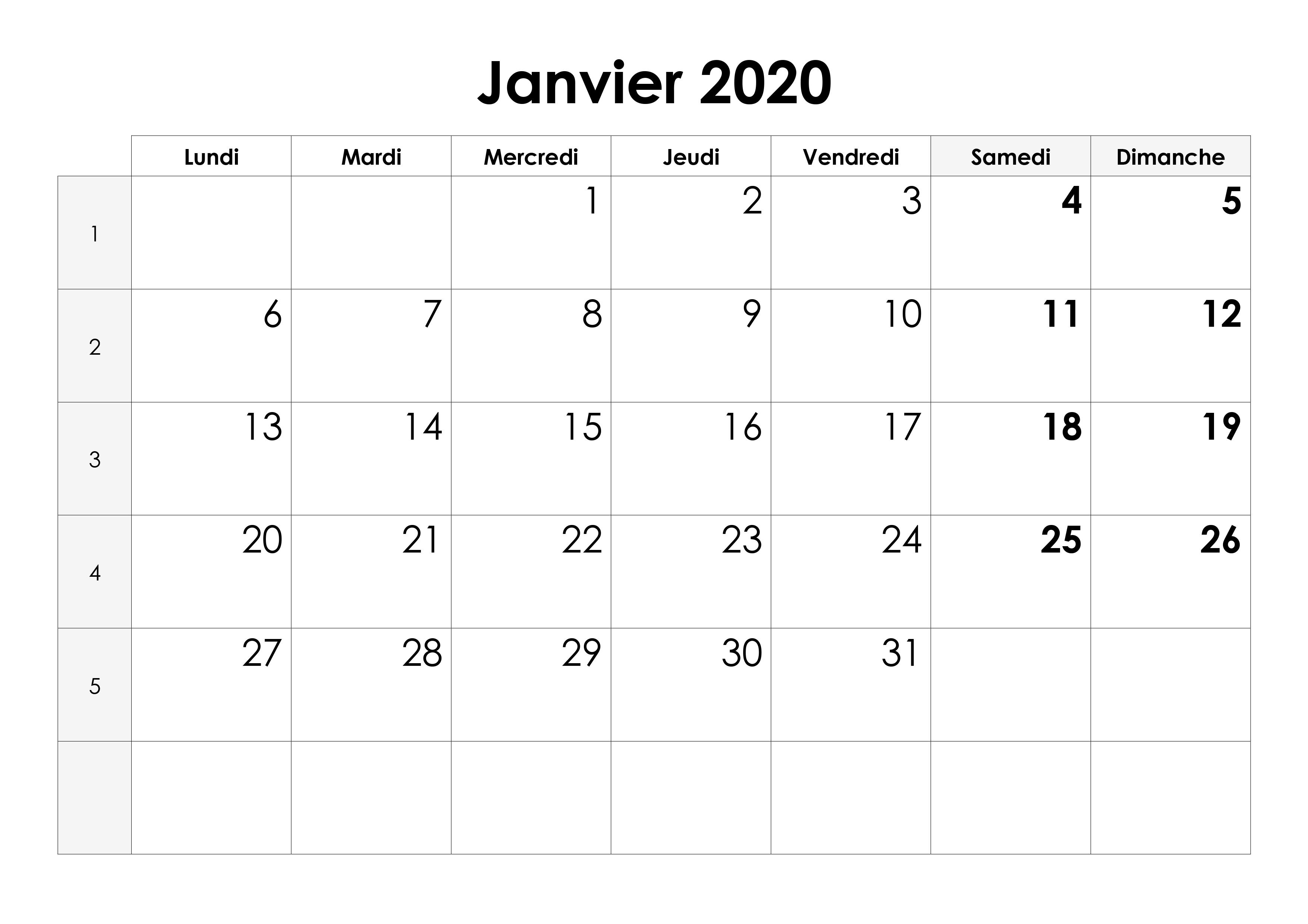 Calendrier Janvier 2020 Excel