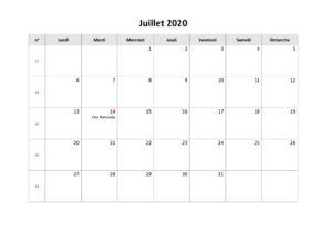 Calendrier Juillet 2020 PDF
