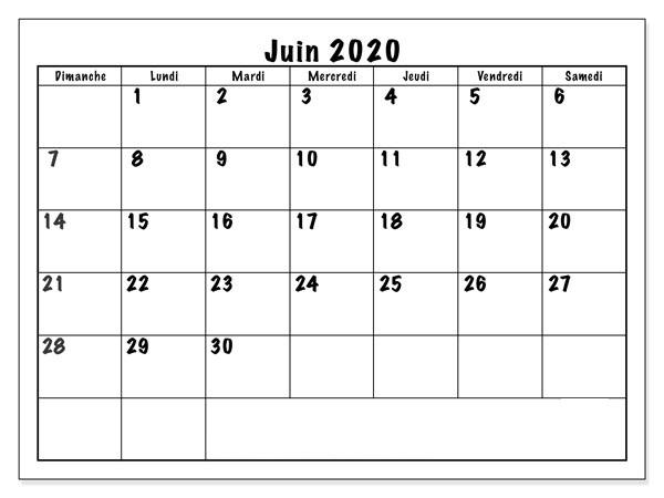 Calendrier Juin 2020 Excel