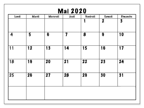Calendrier Mai 2020 PDF