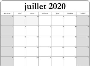 2020 Calendrier Juillet
