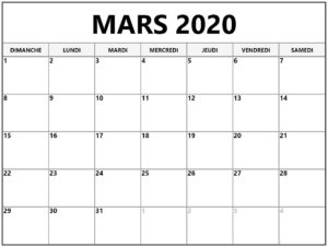 Calendrier Lunaire Mars 2020