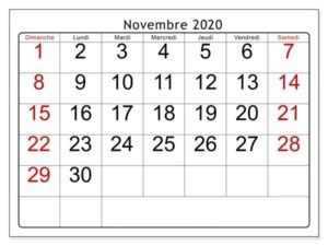 Novembre 2020 Calendrier jours fériés