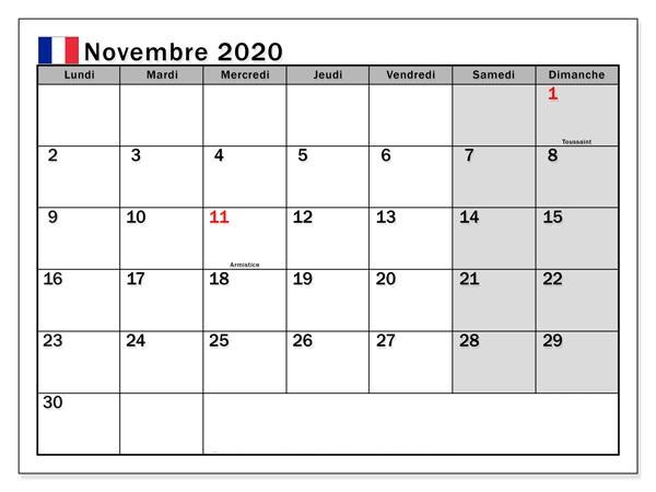 2020 CalendrierNovembre