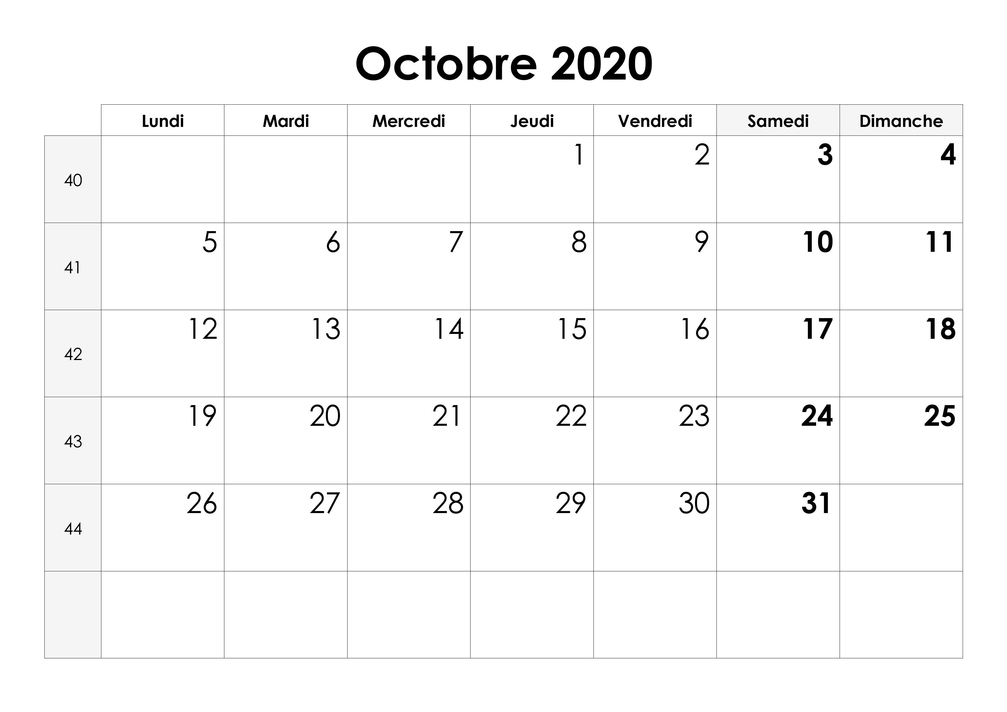 2020 Calendrier Octobre
