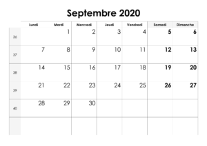 Septembre 2020 Calendrier