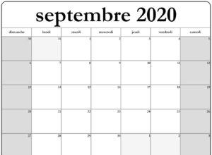 2020 Calendrier Septembrejours fériés