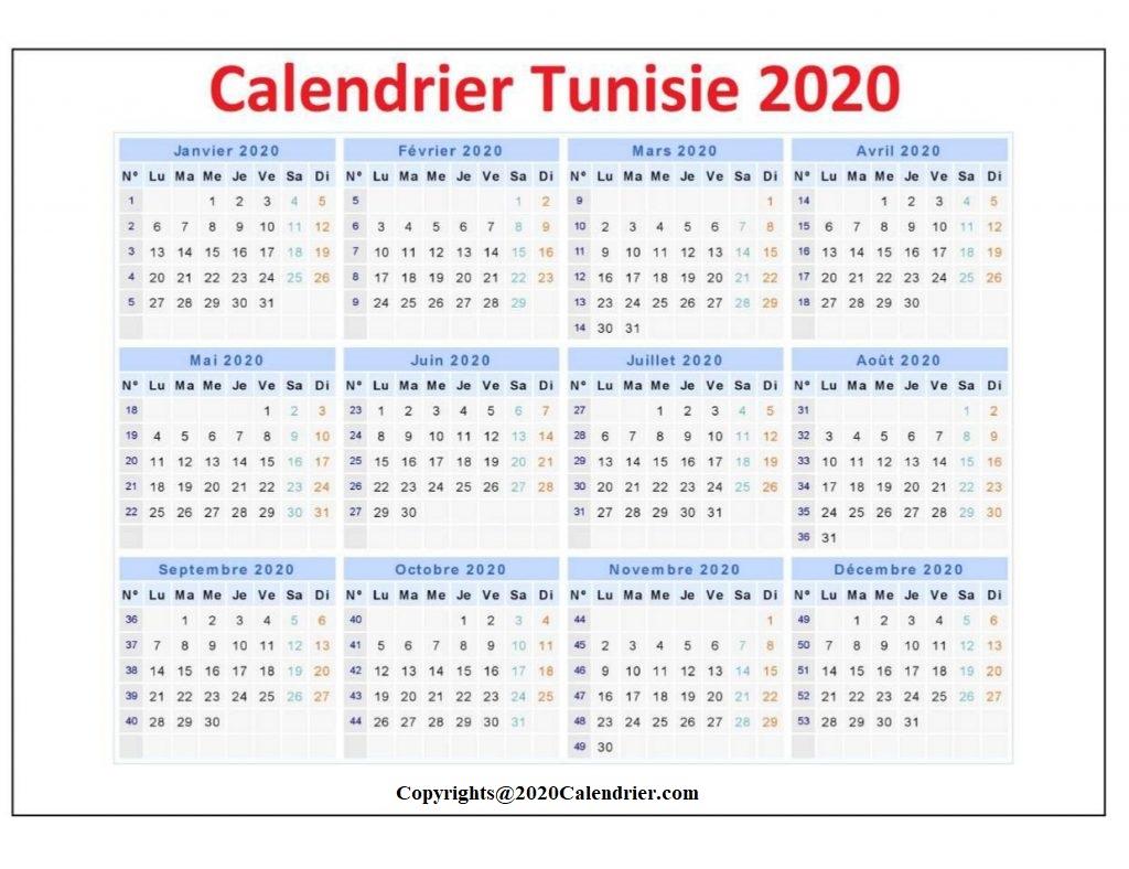 2020 Calendrier Tunisie Avec Jours Feries